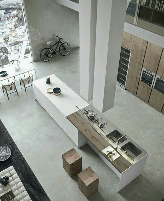 Modern open plan space. Minimal multi material. Long bench