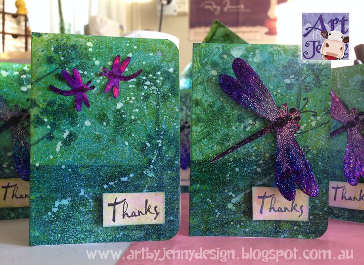 A Life Less Ordinary: Making Art a Priority... Every Day - Art by Jenny's little handmade thank you cards using dragonflies, Dylusions and stamps.