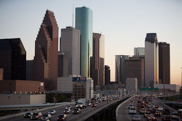 Stock photo of the Houston, Texas skyline from the north including Pennzoil Place, the Bank of America building, One Shell Plaza, Wells Fargo Plaza, andTwo Allen Center