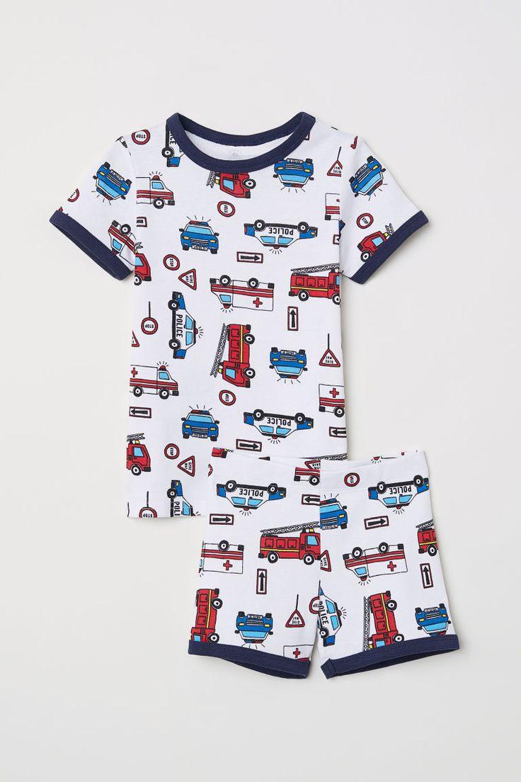 Dżersejowa piżama - Biały/Auta - Dziecko   H&M PL 1