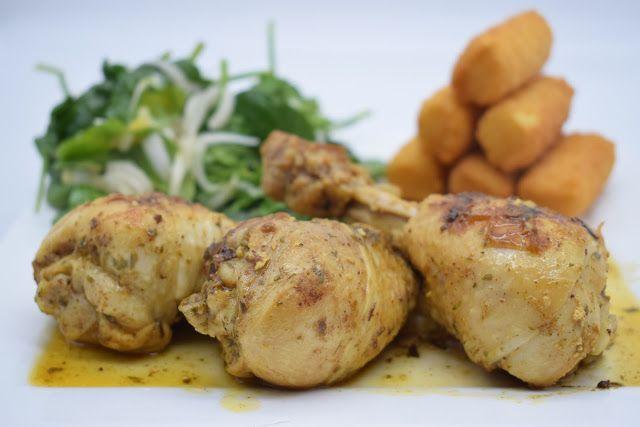 Dominique's kitchen: Chicken with mustard and tarragon and a fresh spin...  Chicken with mustard and tarragon and a fresh spinach salad Kip met mosterd en dragon en een frissen spinaziesalade  Curious for the recipe? Click on the picture below. Nieuwsgierig naar het recept? Klik op onderstaande foto.  #chicken #chickendrumsticks #chickenspices #chickenherbs #kip #kipkruiden #kippenbouten #dragon #tarragon #spinach #spinazie #witlof #witloof #belgian #belgianendive
