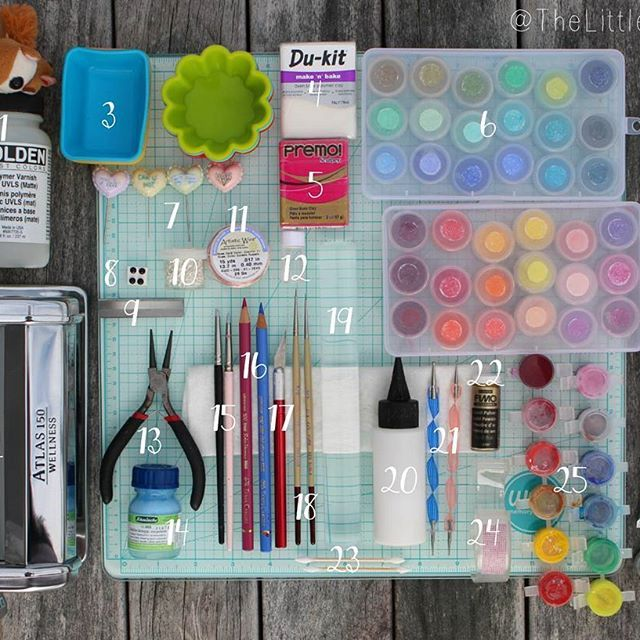 🌈Hi everyone! This is a list of the tools that I use most often, and some brief notes as well. Please excuse the counter intuitive numbering 🐈 Also I totally forgot to number the glass work surface that everything is on! It's a We Are Memory Keepers cutting matt 33x33cm - I bought this after my Sculpey matt wore out and to my amazement it's even better! Recommended by the Polymer Clay Tutor (PCT) on YouTube.  1  Golden Polymer Varnish with UVLS (matte) - I also use Holloway House Quick…