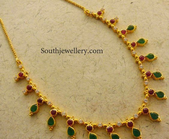 very simple emeralds and ruby necklace