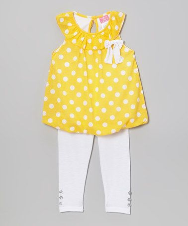 Another great find on #zulily! Yellow Polka Dot Yoke Tunic & Leggings outfit - Infant, Toddler & Girls #zulilyfinds