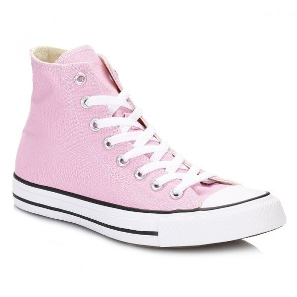 All Star Icy Pink Hi Trainers (£35) ❤ liked on Polyvore featuring shoes, sneakers, pink, high-top sneakers, converse shoes, high top canvas shoes, pink shoes and converse trainers