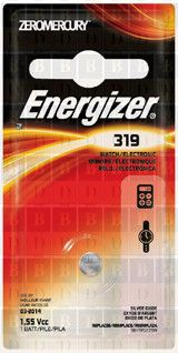 Energizer 319 silver oxide button cell, 1pk