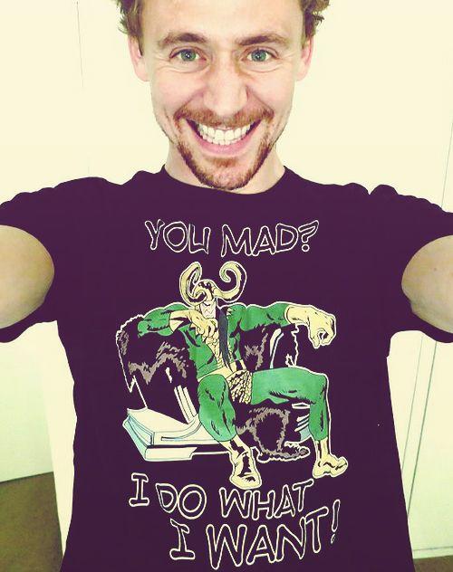 The lovely Tom Hiddleston wearing an amazing Loki t-shirt