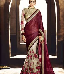 Buy Brown embroidered georgette saree With Blouse georgette-saree online