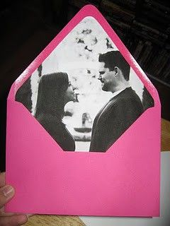 This is such a great idea! Lining your invitations with a picture!