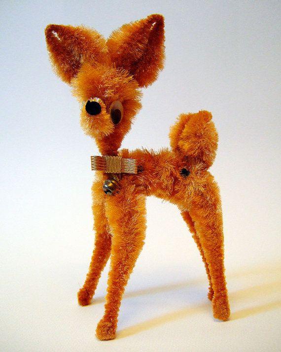 Vintage 1950s Kitsch Chenille Pipe Cleaner Deer by JumbleSailor, £12.00