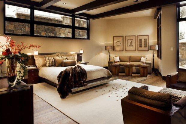 A hálószoba a pihenés, és a béke szigete, ahol az ember igazán szeretné otthon érezni magát. A bézs árnyalatai egészen a sötét barnásig nagyon elegáns, luxus megjelenést kölcsönöznek ezeknek a szobáknak.