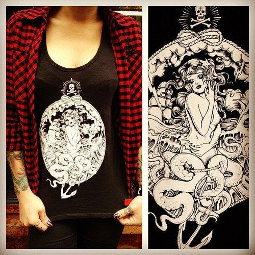I want this tshirt made by my bestie, amazing tattoo artist and illustrator Mel Szeto. Get yours now! Octopus Mermaid Vest. £20.00, via Etsy.