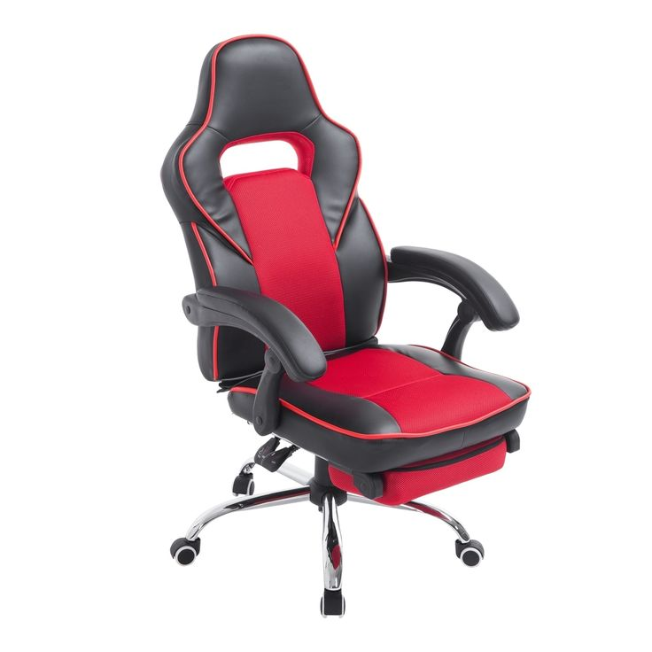 HomCom Race Car Style High Back PU Leather Reclining Office Chair with Footrest - and Black