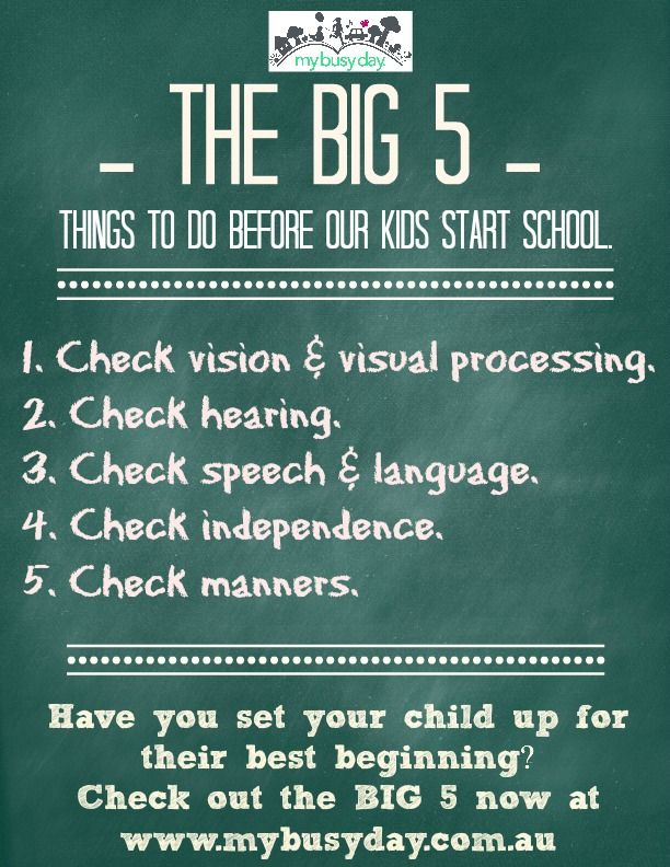 The BIG 5 -TO DO LIST- things to do before our kids start school to set them up for their best beginning,