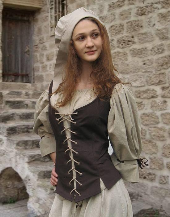 Mittelalterliches Mieder in braun