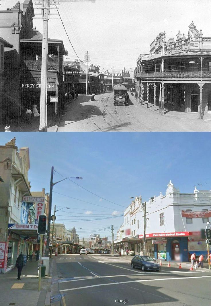 Enmore Terminus, cnr Enmore & Stanmore Rds, Enmore c1908 - 2014. [Nick Possums Old Sydney & Google street view. By Kevin Sundgren]