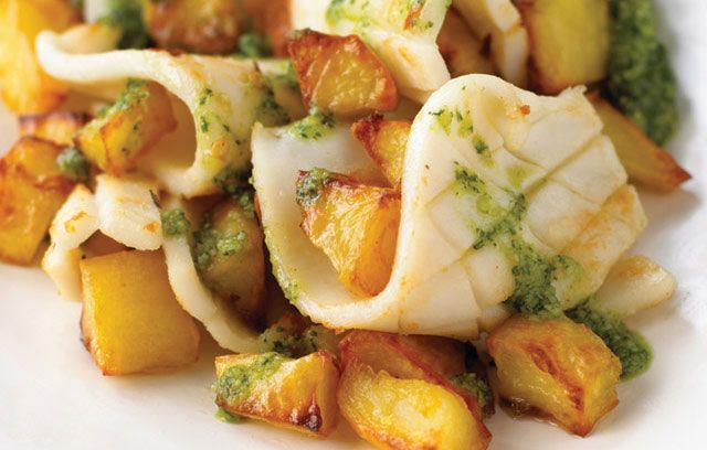 Roasted Squid and Potato with Spiced Coriander Pesto