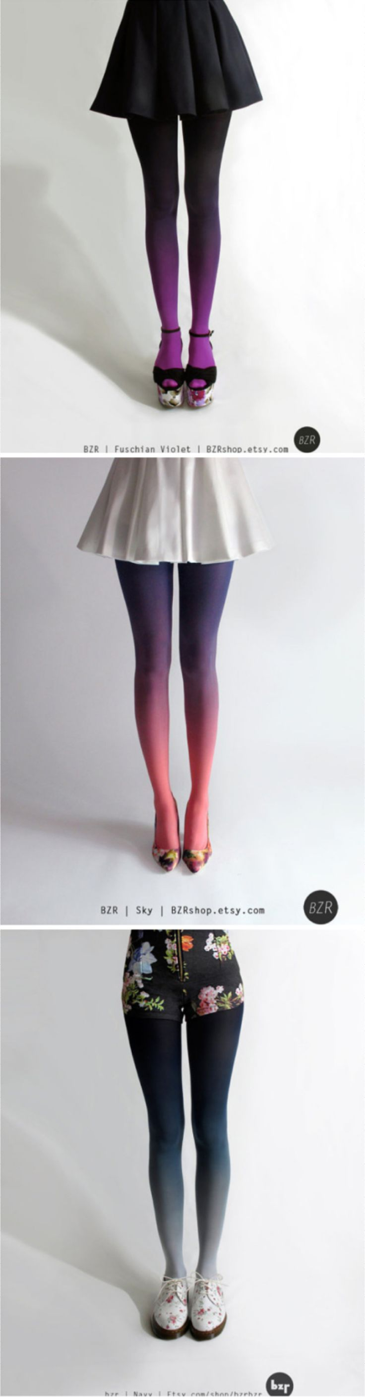 Vibrant Hand-Dyed Ombre Tights by Tiffany Ju