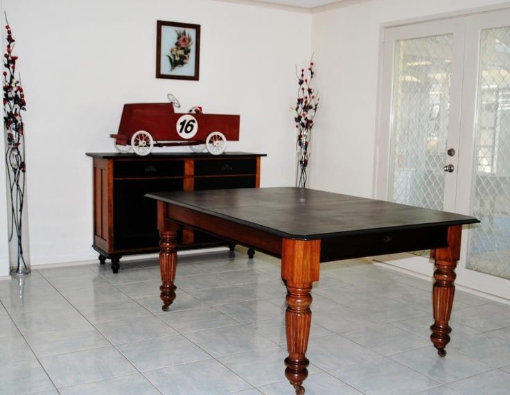 Edwardian Dining Table ~ top was beyond repair so given a noir makeover.