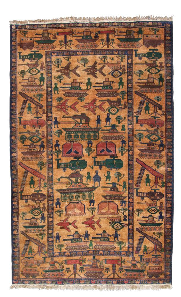 Examples of war rugs from the Till Passow collection_Page_1_Image_0001 War in the desert, Herat/West Afghanistan, 190 cm x 116 cm (approx. 6′ 3″× 3′ 10″).