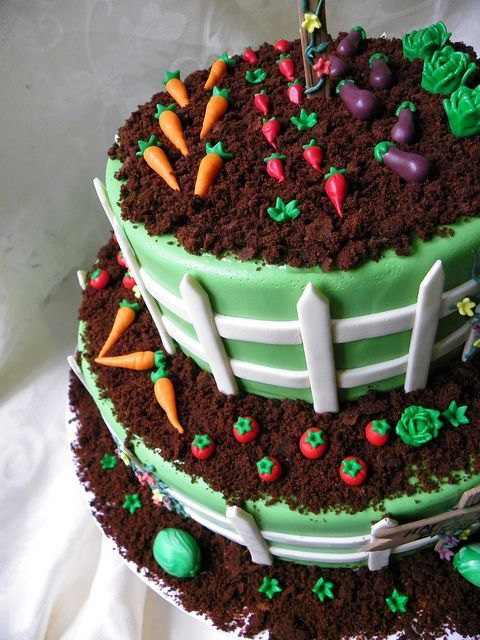 Very cute Garden Birthday cake by Wild Orchid Baking Co., via Flickr. Looks fairly simple--a good cake for a beginning cake decorator!