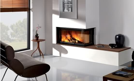 contemporary corner gas fireplace