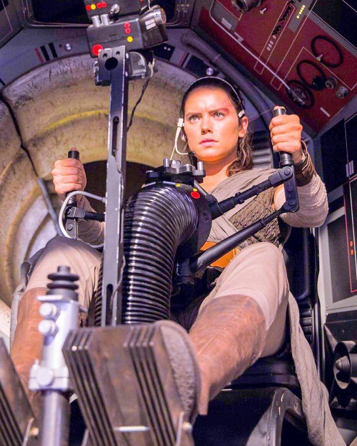 Rey at the Millennium Falcon Turret in The Last Jedi.