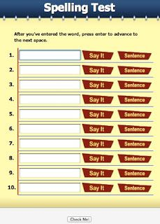 Weekly spelling tests online