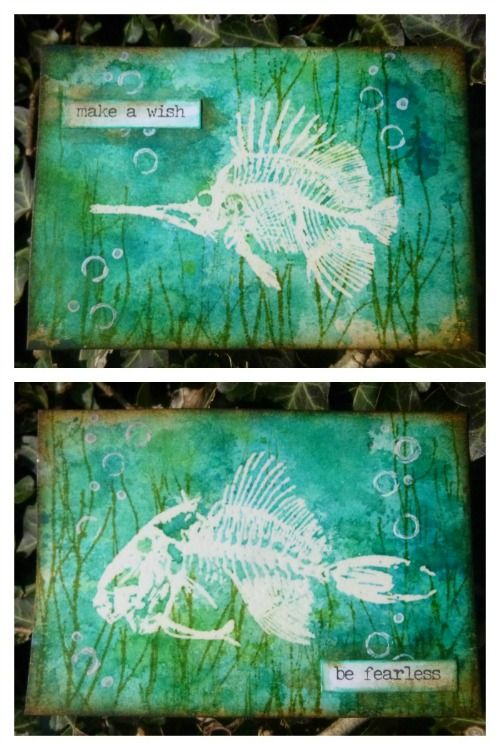 PaperArtsy: 2016 #7 Fossil Resist ATCs {by Alison Bomber}