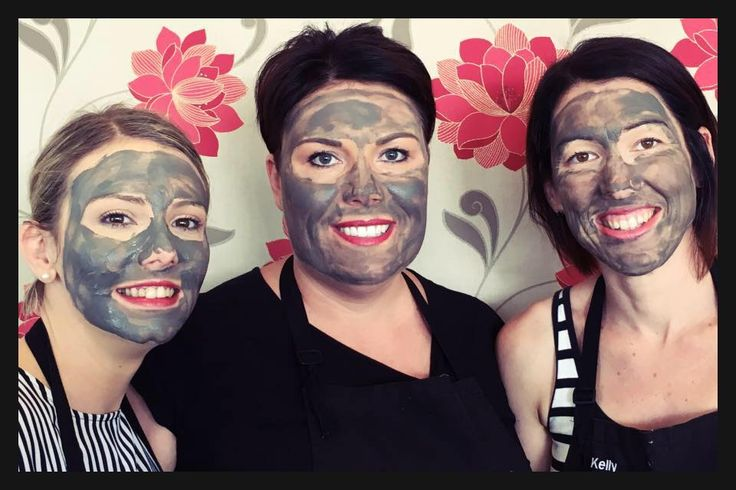 In Therapy girls trying out new Dermalogica Charcoal mask.