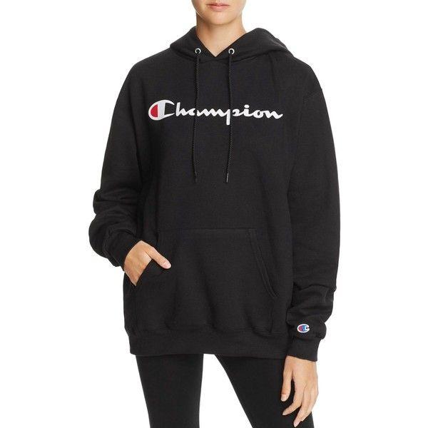 Champion Fleece Logo Hoodie - 100% Exclusive ($53) ❤ liked on Polyvore featuring tops, hoodies, black, champion hoodie, oversized hooded sweatshirt, logo hoodie, fleece hoodie and sports hoodie