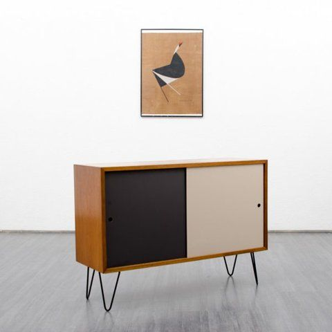 storage Small 1960s oak sideboard with coloured fronts and hairpin legs (no. 5381) Karlsruhe Velvet-Point