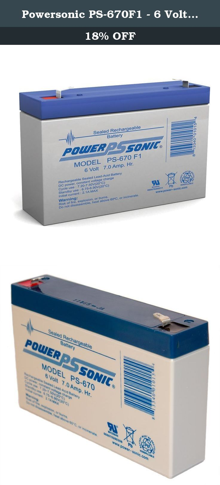 Powersonic PS-670F1 - 6 Volt/7 Amp Hour Sealed Lead Acid Battery with 0.187 Fast-on Connector. High-quality sealed lead acid (SLA) batteries from Power-Sonic provide excellent value for uses including computer UPS systems, alarm back-up, garden tractors, children's vehicles, and many more. The PS-670 has a rated output of 6V, 7Ah.