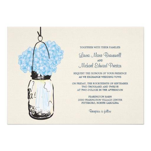 Hydrangea U0026 Mason Jar Wedding Invitations