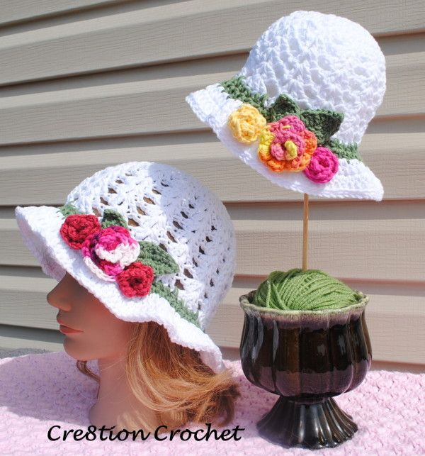 adult and toddler free pattern Spring Blossom hat - could add more rows to brim possibly to have a wide brim