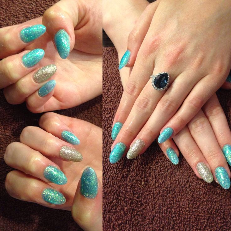 Glitter gels over natural nails #glitter #turquoise #silver #gel