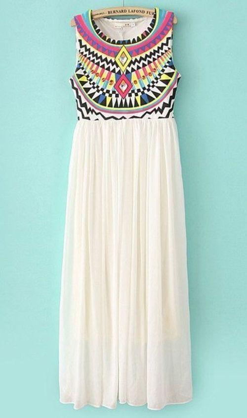 White Tribal Maxi Dress- top made with gujarati embroidery