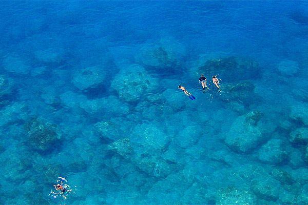 Snorkeling in the crystal clear water of Porto Katsiki beach in Lefkada ~~~ Greece