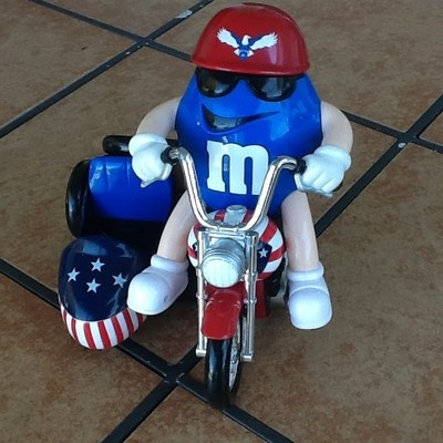 M Freedom Rider Candy Dispenser Motorcycle + Sidecar Blue Biker Red Helmet