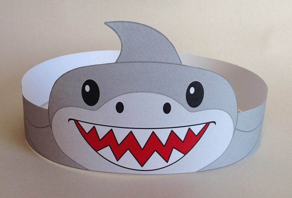 Shark Paper Crown Printable by PutACrownOnIt on Etsy
