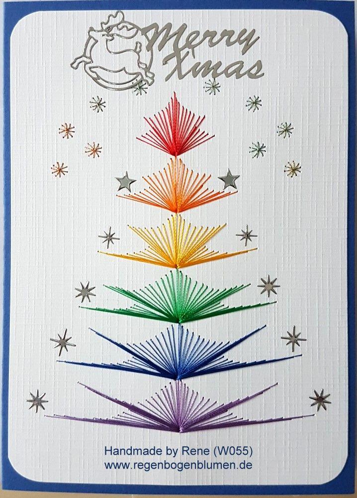 Grußkarten-Set Weihnachten 055 - Motiv: Weihnachtsbaum 11rainbow - Copyright Motiv: M.Sinkovcz - Doppelkarte mit Umschlag Format A6