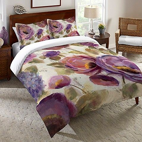 Laural Home Blue Purple Flower Song Twin Duvet Cover In