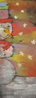 Read Snowman at Night. Discuss shadows, highlights. Black glue outline, soft pastels inside lines. Snowman classroom art