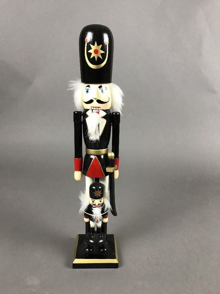 "Swashbuckler Pirate Sword Nutcracker with Mini Me 15"" Tall Holiday Black #Unbranded"
