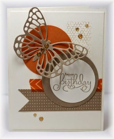 Background stamp, sentiment and butterfly diecut are all from SU. The flagged piece at the bottom is...
