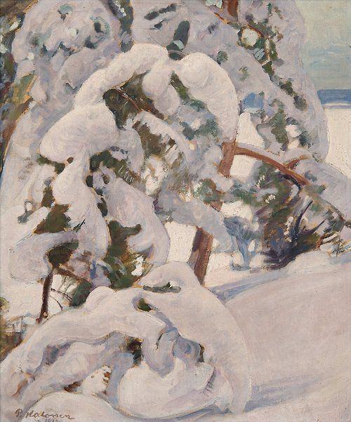 Pekka Halonen (Finnish, 1865-1933), Snowy Pine Trees. Oil on canvas, 60.5 x 50.5 cm.