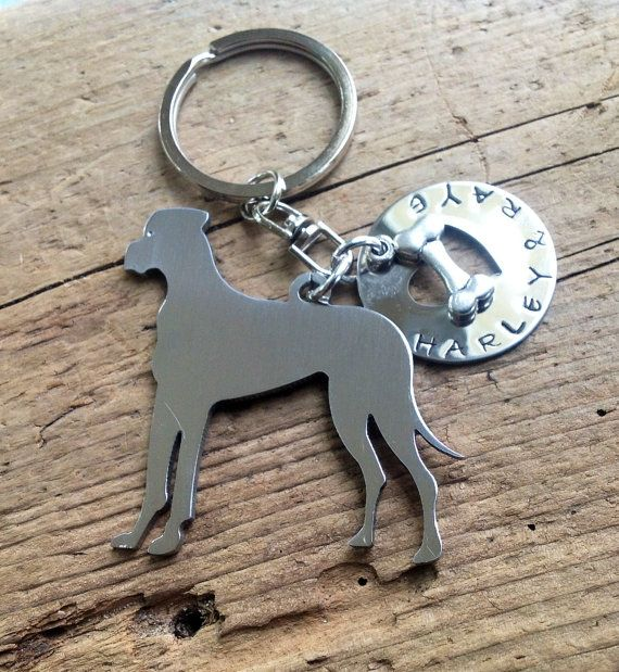 One Great Dane Dog custom keychain.  Personalized Your Dog's Name.  Pet Memorial.