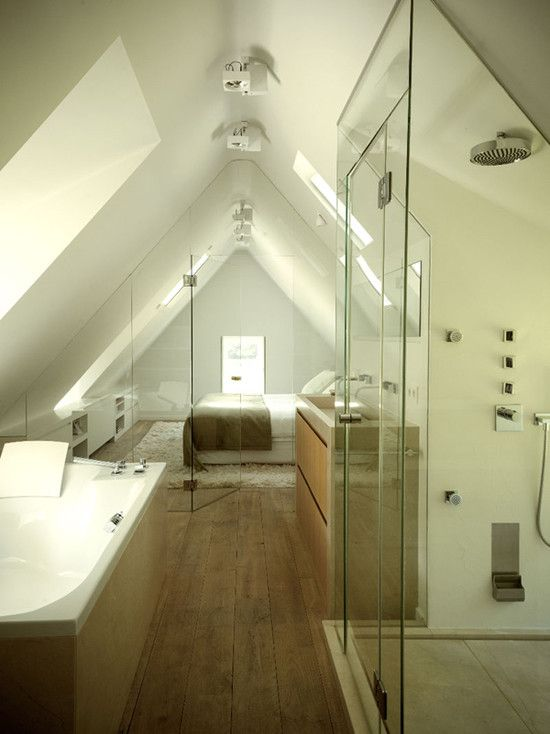 Renovated Belgian farm house- glass enclosed bathroom under eaves