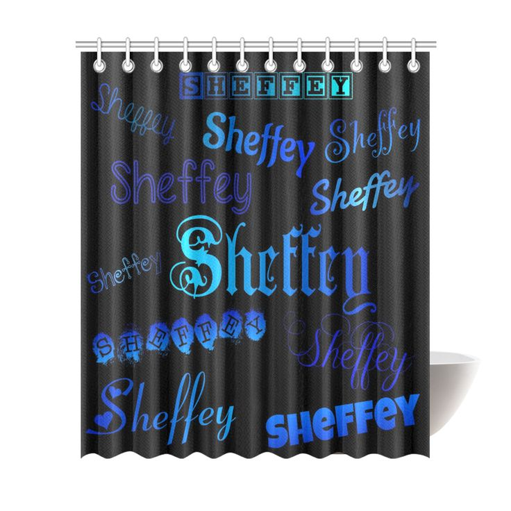 Sheffey Fonts - Shades of Blue on Black 040 Shower Curtain 72