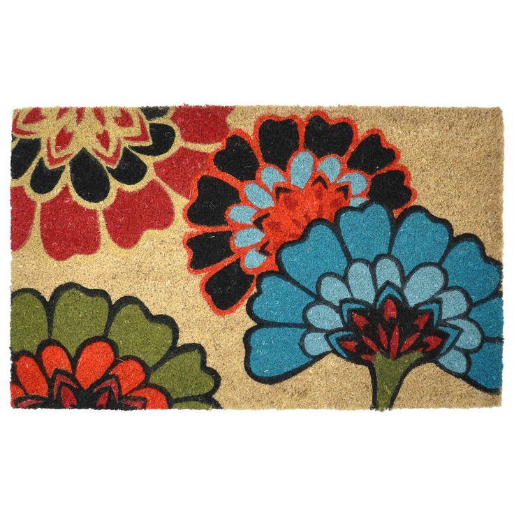 Yaki Floral Pattern Coir Doormat | Overstock.com Shopping   Big Discounts  On Kosas Collections